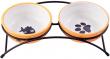 Миски керамические на подставке, 2х290 мл. оранжевые, КерамикАрт