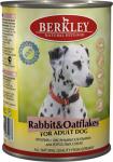 Berkley, консервы для собак с кроликом и овсяными хлопьями, 400 гр.