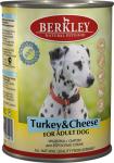 Berkley, консервы для собак с индейкой и сыром, 400 гр.
